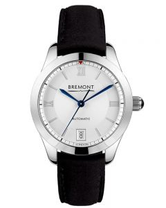 Bremont SOLO-34 LC White Dial Black Leather Strap Watch SOLO-34/LC-WH