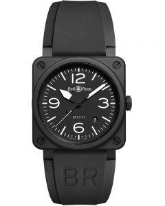 Bell & Ross Mens Instruments Aviation Black Ceramic Watch BR0392-BL-CE