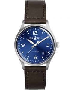 Bell & Ross BR V1-92 Blue Steel Leather Strap Watch BRV192-BLU-ST/SCA