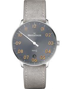 MeisterSinger Mens Neo Q Sunburst Anthracite Leather Strap Watch NQ907GN