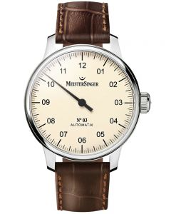 MeisterSinger Mens No. 03 Automatic Leather Strap Watch AM903