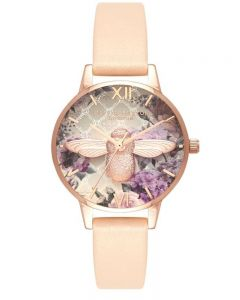 Olivia Burton Glasshouse Rose Gold And Nude Peach Leather Strap Watch OB16EG98