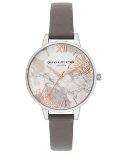 Olivia Burton Abstract Florals Demi Dial London Grey Leather Strap Watch OB16VM32