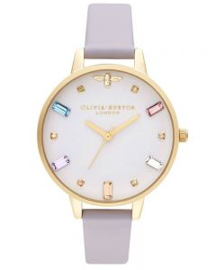 Olivia Burton Rainbow Bee Gold Plated Demi Dial Parma Violet Leather Strap Watch OB16RB11