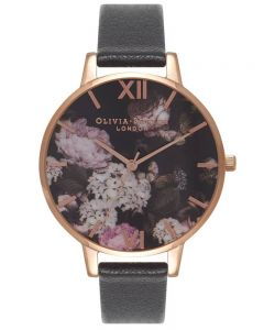 Olivia Burton Signature Florals Rose Gold Plated Black Leather Strap Watch OB15WG12