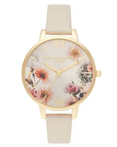 Olivia Burton Sunlight Florals Demi Dial Gold Plated Nude Strap Watch OB16EG118