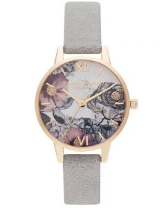 Olivia Burton Eco Friendly Rose Gold Plated Floral Dial Grey Leather Look Strap Watch OB16VM24