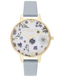 Olivia Burton Artisan Pale Gold Plated White Dial Chalk Blue Strap Watch OB16AR08