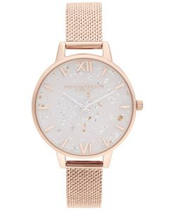 Olivia Burton Celestial Rose Gold Plated Mesh Strap Watch OB16GD35