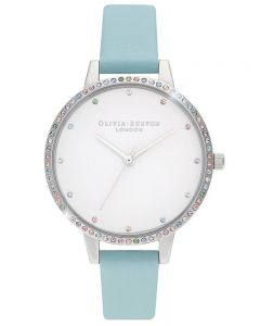 Olivia Burton Rainbow Bezel Silver and Turquoise Leather Strap Watch OB16RB19