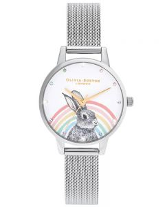 Olivia Burton Illustrated Animals Rainbow Bunny Gold and Silver Mesh Strap Watch OB16WL89