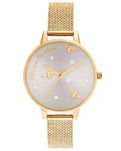 Olivia Burton Pearl Queen Gold Boucle Mesh Strap Watch OB16PQ06