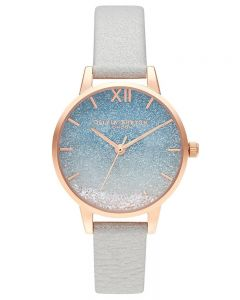 Olivia Burton Wishing Waves Rose Gold and Glitter Pearl Leather Strap Watch OB16US26
