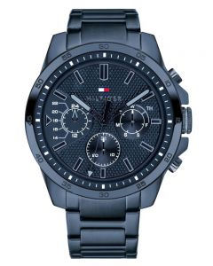 Tommy Hilfiger Decker Navy Blue Stainless Steel Chronograph Dial Bracelet Watch 1791560