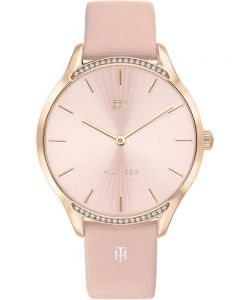 Tommy Hilfiger Gray Rose Gold Plated Pink Dial Crystal Set Bezel Leather Strap Watch 1782215