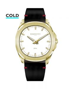 KAMAWATCH Royal Gold Plated White Dial Red Leather Suede Strap Watch KWMP37