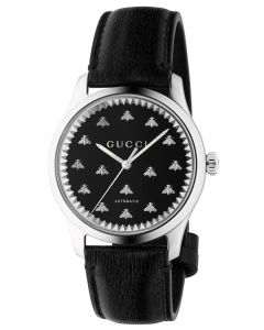Gucci Ladies G-Timeless Automatic Black Onyx Bee Motif Dial Leather Strap Watch YA126286