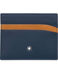 Montblanc Meisterstuck Navy Blue Tan Pocket Credit Card Holder 6cc 118309