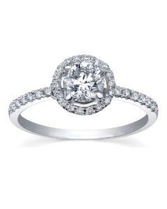 9ct White Gold 0.55ct Diamond Halo Ring 3645WG/55-9