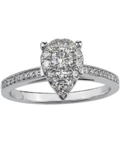 9ct White Gold 0.50ct Diamond Pear Cluster Ring 3761WG/50-9