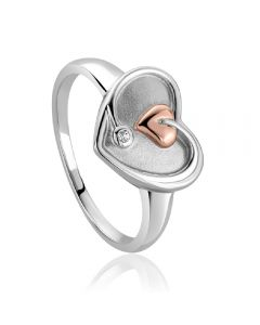 Clogau Tree of Life White Topaz Heart Ring 3STLDR