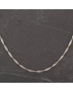 """Second Hand 9ct White Gold 18"""" Twisted Double Curb Necklace"""