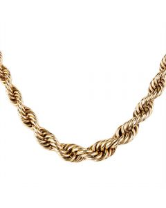 "Second Hand 9ct Yellow Gold 16"" Graduated Solid Rope Chain"