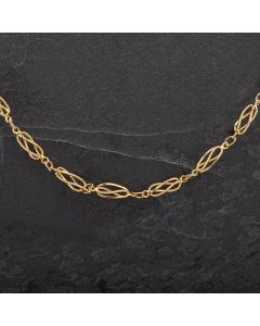 "Second Hand 9ct Yellow Gold 20"" Open Work Fancy Link Necklace"