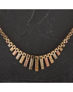 Second Hand 9ct Yellow Gold 3 Colour Brick Colleret Chain