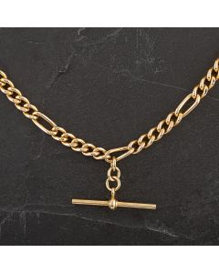 """Second Hand 9ct Yellow Gold 16"""" Albert T-Bar Necklace"""