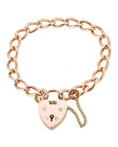 Second Hand 9ct Rose Gold Curb Chain Bracelet 4107055