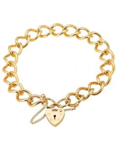 Second Hand 9ct Yellow Gold Ladies Curb Chain Bracelet