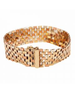 Second Hand 9ct Three Colour Gold Brick Link Bracelet