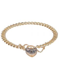 Second Hand 9ct Yellow Gold Double Curb Chain Bracelet
