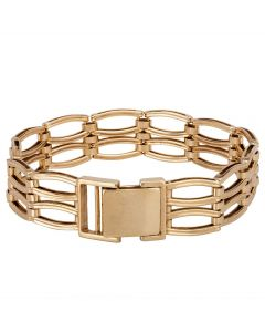 Second Hand 9ct Yellow Gold Two Row Gate Bracelet