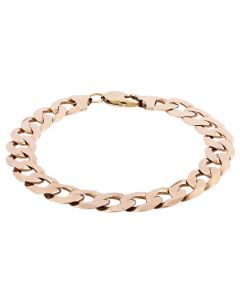 Second Hand 9ct Yellow Gold Mens Flat Curb Chain Bracelet 4107169