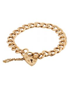 """Second Hand 9ct Yellow Gold 7"""" Curb Chain Padlock Bracelet"""