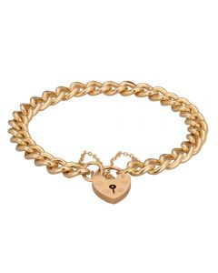 Second Hand 9ct Yellow Gold 7 Inch Curb and Padlock Chain Bracelet