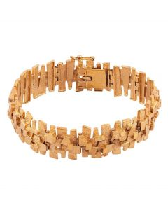 Second Hand 9ct Yellow Gold 6.25 Inch Fancy Bark Bracelet
