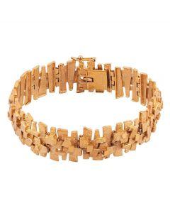 Second Hand 9ct Yellow Gold 6.25 Inch Fancy Bark Bracelet