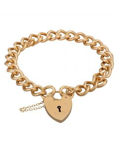 Second Hand 9ct Yellow Gold 7 Inch Heart Padlock Heavy Curb Bracelet