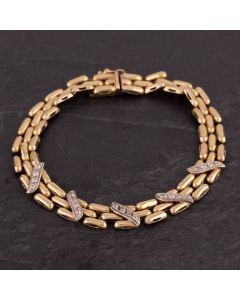 Second Hand 9ct Two Colour Gold Three Row Brick Link and Cubic Zirconia Fancy Bracelet