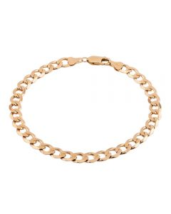 """Second Hand 9ct Yellow Gold 8"""" Flat Curb Chain Bracelet HGM30/01/02(04/19)"""