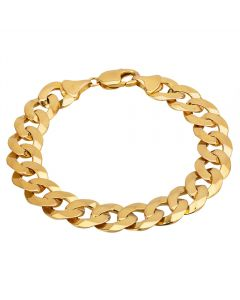 """Second Hand 9ct Yellow Gold 8.5"""" Flat Curb Chain Bracelet HGM33/01/02(06/19)"""