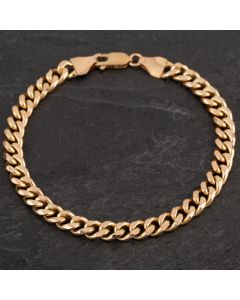 Second Hand 9ct Yellow Gold Hollow Curb Bracelet