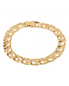 """Second Hand 9ct Yellow Gold 8"""" Fancy Curb Bar Chain Bracelet"""