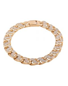 Second Hand 9ct Yellow Gold Cubic Zirconia Set Curb Chain Bracelet HGM39/01/04(08/19)