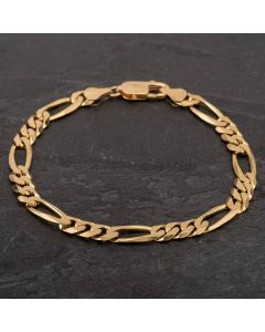 """Second Hand 9ct Yellow Gold 8"""" Figaro 3+1 Chain Bracelet"""