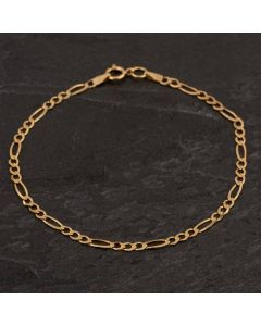 Second Hand 9ct Yellow Gold 8 Inch Figaro 3+1 Bracelet