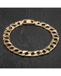 Second Hand Yellow Gold 8 Inch Square Plain Curb Bracelet 4108208